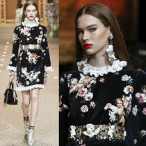 18-19AW DG1760 LOOK45 ANGEL & FLORAL PRINT VELVET DRESS