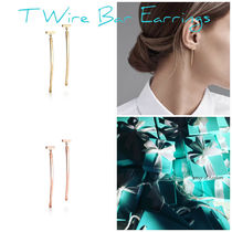 【Tiffany】Tiffany T Wire Bar Earrings in Gold,Rose Gold