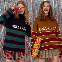 ★rolarola★韓国 ニット BLOCK STRIPE TURTLE-NECK KNIT【2色】