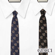 【GUCCI】国内発送 ビーパターン柄 シルク ネクタイ 2色