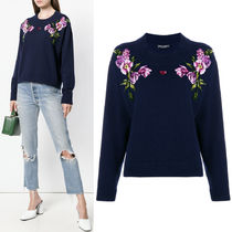 18-19AW DG1764 CROPPED CASHMERE SWEATER WITH PATCH