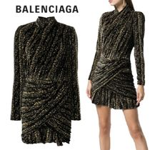 【18AW】BALENCIAGA★longsleeved draped dress