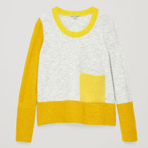 COS☆COLOUR-BLOCK JUMPER WITH POCKET / yellow