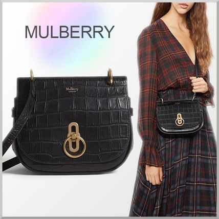Mulberry ショルダーバッグ・ポシェット 18-19AW★Mulberry クロコ型押し スモール Amberley バッグ