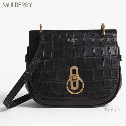 Mulberry ショルダーバッグ・ポシェット 18-19AW★Mulberry クロコ型押し スモール Amberley バッグ(5)