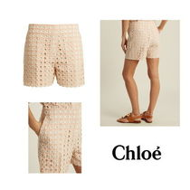 【Chloe】Embroidered eyelet cotton-blend shorts