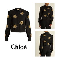 【Chloe】Floral-embroidered cady top