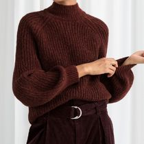 """""""& Other Stories""""Oversized Mock Neck Sweater Burgundy"""
