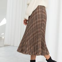 """""""& Other Stories"""" Pleated Plaid Midi Skirt Brown"""