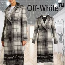 【18AW】★Off-White★Check wool-blend blanket coat