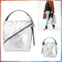 【送料・関税等込み】Silver Zip Hobo Medium Leather Tote Bag