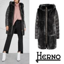 HERNO Grey fur and wool-blend coat 関税送料込