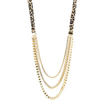 Belle Noel(ベルノエル ) ネックレス・ペンダント ★人気商品★LEOPARD SUEDE AND CHAIN  NECKLACE★日本未入荷★