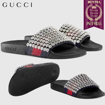 【正規品保証】GUCCI★18秋冬★WEB SLIDE WITH CRYSTALS