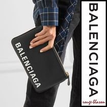 【国内発送】Balenciaga ポーチ Ville printed textured-leather