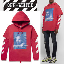 2018 AW 新作☆OFF-WHITE レイヤード プリントフーディー