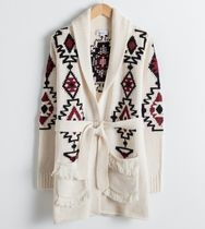 """""""& Other Stories"""" Southwestern Knit Belted Cardigan White"""