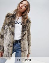 Jakke mid length faux fur coat in snake