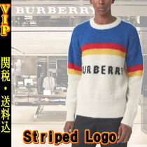 ◆VIP◆ Burberry  Striped Logo Intarsia Mohair Wool Sweater