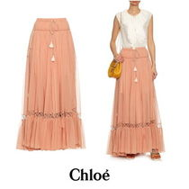【Chloe】Silk-crepon drawstring maxi skirt