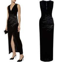 18-19AW BAL322 RHINESTONE EMBELLISHED VELVET LONG DRESS