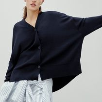 """COS"" DRAPED-BACK WOOL CARDIGAN NAVY"