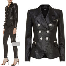 18-19AW BAL332 GLITTER CALF LEATHER DOUBLE BREASTED JACKET