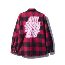 Anti Social Social Club Blocked Logo - Red Flannel 赤 シャツ