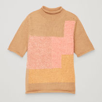 COS☆PATCHWORK WOOL-KNIT TOP / pink