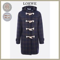 2018-19AW LOEWE check duffle coat with contrasting toggles