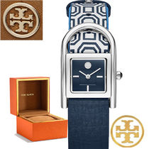 特価!Tory Burch  hayer Navy & White Leather Strap 腕時計