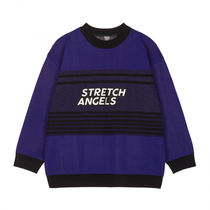 ★STRETCH ANGELS★Logo embroidery knit two-block MTM (Navy)