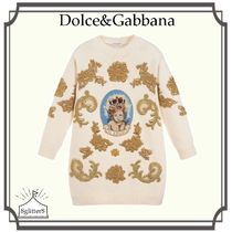 Dolce&Gabbana☆ゴールド刺繍 Knitted Wool ワンピース4-6year