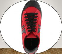 CELINE**Lace Up Sneaker Plimsole Canvas Red/Black