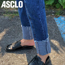 ★ASCLO★ slit roll up denim pants (113)