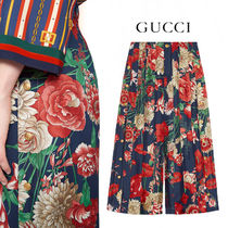 18Pre-Fall 数量限定!【GUCCI】ブーケ柄 シルク プリーツパンツ
