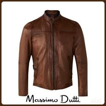 MassimoDutti♪NAPPA LEATHER JACKET WITH CONTRASTING DETAILS