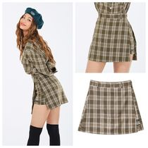 ★NASTYKICK★ FANCY CHECK WRAP SKIRT BEIGE