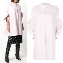 18-19AW V1347 CASHMERE BLEND WOOL COAT WITH RUFFLED SLEEVE