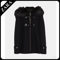 ★ZARA★ザラ  THREE-QUARTER-LENGTH COAT WITH FAUX FUR HOOD