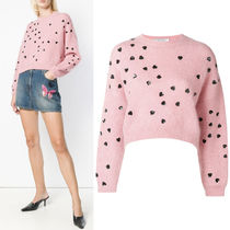 18-19AW V1362 PRETTY HEART EMBELLISHED MOHAIR BLEND SWEATER
