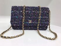 2018 F/W 最新作 CHANEL★Tweed wallet on chain in blue/purple