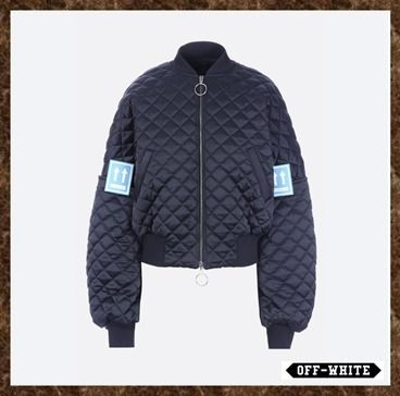 Off-White(オフホワイト)★Quilted fabric bomber jacket★
