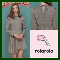 日本未入荷!【rolarola】CHECK PLEATS ONE-PIECE  (BROWN)