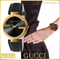 【破格★SALE】Gucci Interlocking Black Leather Strap Watch