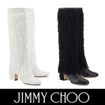 Jimmy Choo MAGALIE65 / Black  / White フリンジ二―ハイブーツ