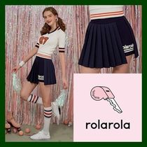 日本未入荷!【rolarola】 WRAP PLEATS PANTS SKIRT (NAVY)