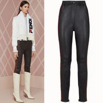 FE2241 LAMB LEATHER SKINNY PANTS WITH FF LOGO PANEL