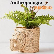 送関込☆Anthropologie☆Wicker Elephant Planter象プランター