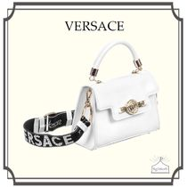 YOUNG VERSACE☆White ハンドバッグ with ロゴストラップ